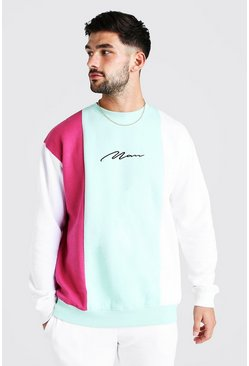 Green MAN Signature Loose Fit Colour Block Sweater