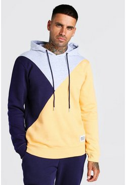 Grey marl Official MAN Back Print Colour Block Hoodie