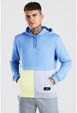 Navy Official MAN Colour Block Hoodie