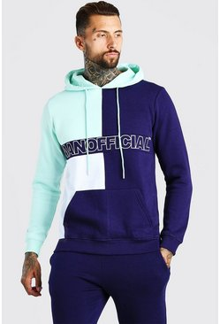 Green Official MAN Colour Block Hoodie