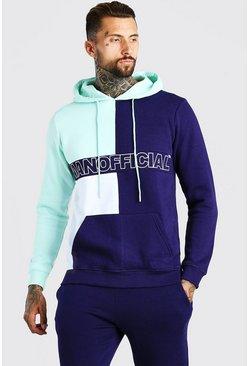 Green Official MAN Colour Block Hoodie