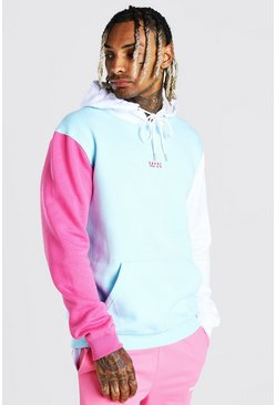 Light blue Official MAN Colour Block Hoodie