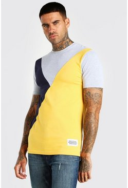 Grey marl Official MAN Muscle Fit Colour Block T-Shirt