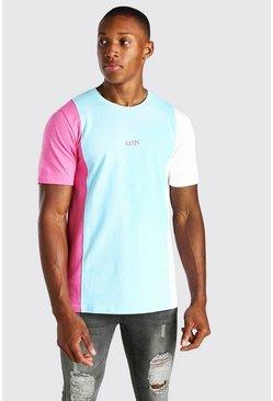 Light blue Official MAN Colour Block T-Shirt