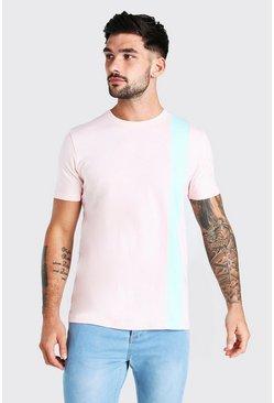 Pink Colour Block Panel T-Shirt