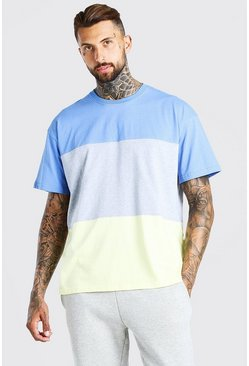 Yellow Oversized Colour Block T-Shirt