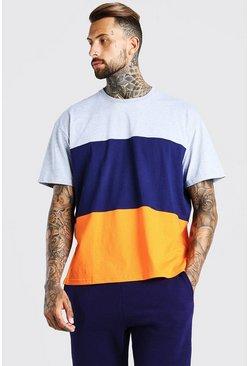 Navy Oversized Colour Block T-Shirt