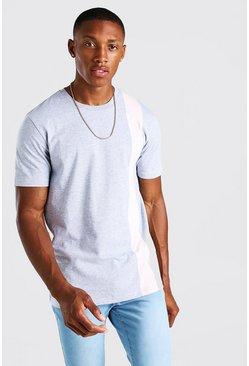Grey marl Colour Block Panel T-Shirt