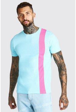 Light blue Colour Block Panel T-Shirt