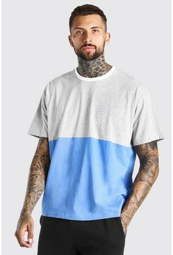 Grey marl Oversized Colour Block T-Shirt