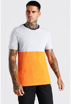 T-shirt à blocs de couleur, Gris chiné
