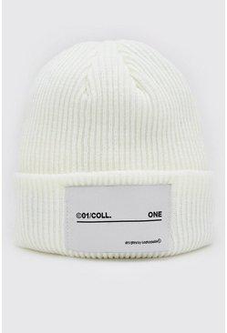 White MAN Woven Tab Beanie Hat