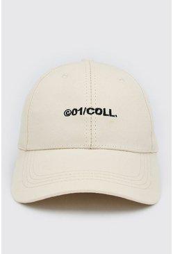 White MAN Embroidered Curve Peak Cap