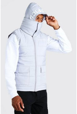 Grey Extreme snood hood gilet with hood print