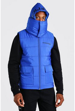 Blue Extreme Snood Hood Gilet With Hood Print