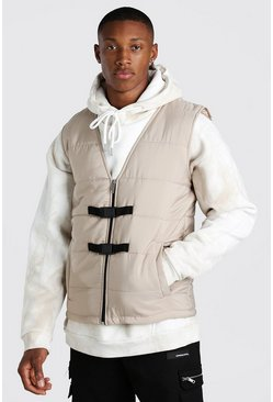 Stone Buckle Detail Man Branded Padded Vest
