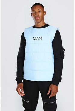 Blue MAN Dash Padded Side Zip Gilet With Tape Detail