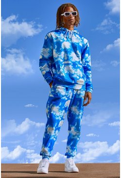 Blue Man Official Cloud Print Hooded Tracksuit