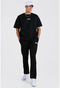 Black Oversized Scuba T-Shirt & Jogger with Man Tab