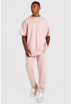 Dusky pink Oversized Scuba T-Shirt and Jogger with Man