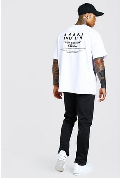 Ensemble t-shirt coupe oversize et jogging en tricot MAN, Noir