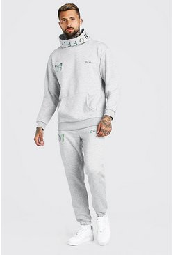 Grey marl Man Reflective Butterfly Snood Hooded Tracksuit