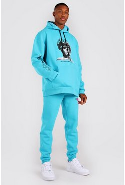 Turquoise Oversized Statue Graphic Hooded Tracksuit