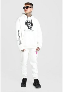 Ecru Oversized Statue Graphic Hooded Tracksuit