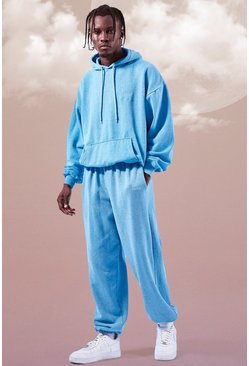 Turquoise Oversized Man Overdyed Marl Hooded Tracksuit