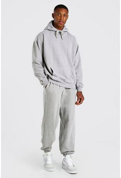 Oatmeal Oversized Man Overdyed Marl Hooded Tracksuit