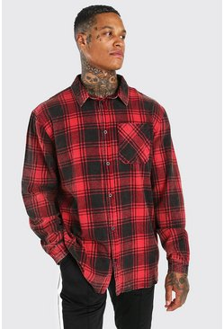 Red Oversized Acid Wash Flannel Shirt