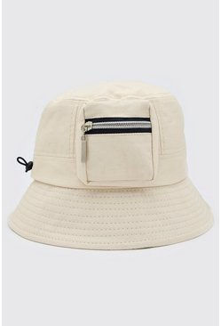 Beige Utility Bucket Hat With Toggle Detail