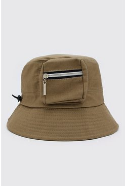 Sage silver Utility Bucket Hat With Toggle Detail