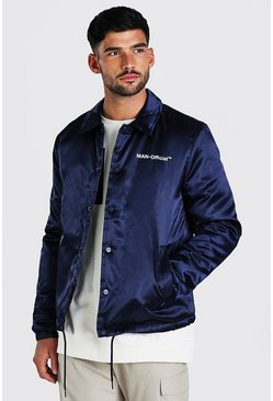 Veste coach en satin MAN Official, Marine