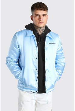 Veste coach en satin - MAN Official, Bleu clair