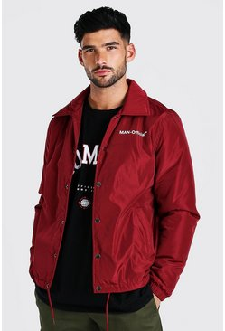 Burgundy MAN Official Nylon Coach Jacket