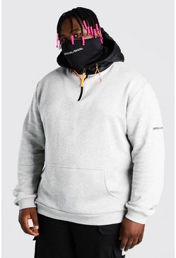 Grey marl Plus Size MAN Puffer Snood Hoodie
