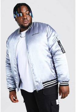 Bomber style universitaire bordure satin MAN Official Big And Tall, Gris