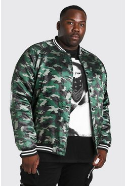 Bomber style universitaire en satin camouflage MAN Big And Tall