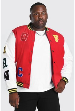 Grande taille - Bomber avec patch MAN Official, Rouge