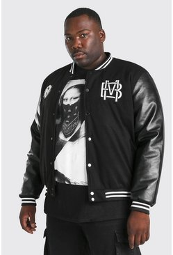 Black Plus Size Varsity Bomber With PU Sleeves