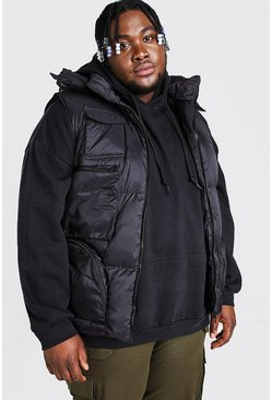 Black Plus Size Multi Pocket Gilet
