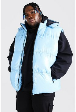 Gilet imprimé MAN au dos Big And Tall, Bleu clair