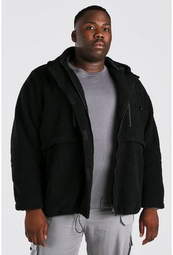 Black Plus Size Oversized Borg Jacket