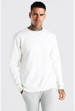 Ecru Basic Crew Neck Fleece Sweatshirt