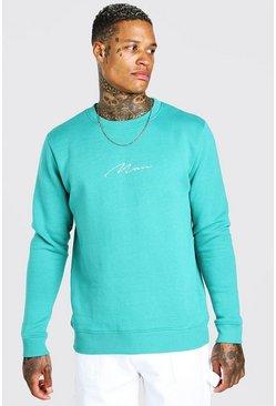 Green MAN Signature Embroidered Sweatshirt