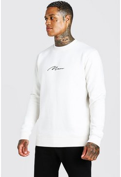 Ecru MAN Signature Embroidered Sweatshirt