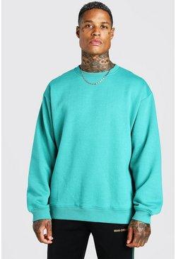 Green Oversized Fleece Crew Neck Sweatshirt