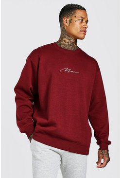 Burgundy Oversized MAN Signature Sweatshirt