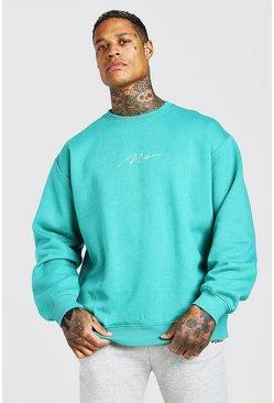 Green Oversized MAN Signature Sweatshirt